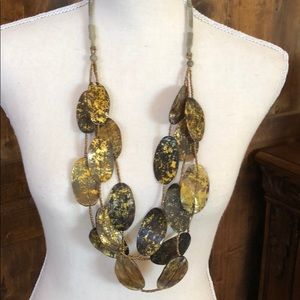 "Gold Metallic and Black Painted Necklace 18""drop"